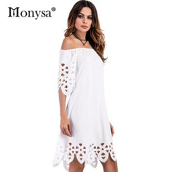 Summer Dress 2017 New Arrival Off Shoulder Half Sleeve Casual Dresses Sexy Hollow Out Knee Length Dress Women Clothes Blue White
