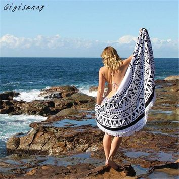 LMF9GW Bohemian Style Round Hippie Tapestry Beach Cover Up Throw Roundie Mandala Towel Yoga Mat Summer Wraps Women Free Shipping,Jan 7