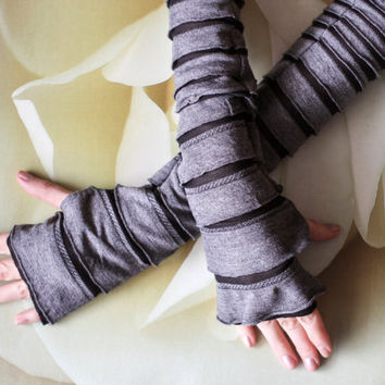 Arm Warmers Ruffled Walking Dead Ripped and Torn Soft Grey Zombie Skin Fingerless Gloves , Cotton Knit Arm Warmers