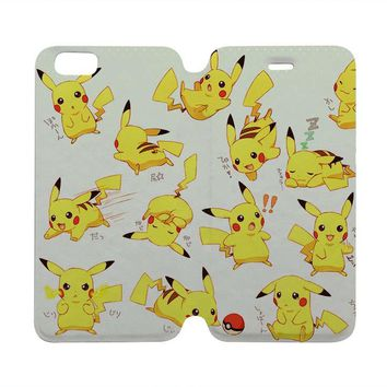 POKEMON PIKACHU Wallet Case for iPhone 4/4S 5/5S/SE 5C 6/6S Plus Samsung Galaxy S4 S5 S6 Edge Note 3 4 5