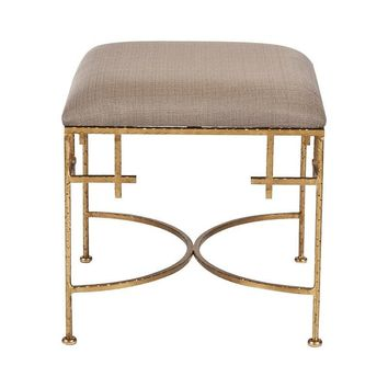 Lolita Square Stool with Linen Top - Gold