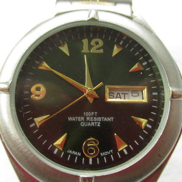 vtg Puritan watch, men's vintage watch, day and date on face, Water Resistant, retro men's watch, hipster men's watch, man cave decor