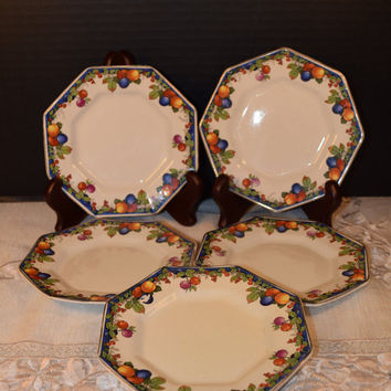 Tillson Bread Butter Plates 5 Vintage Till & Sons England Fruit Berry Small Plates Dessert Plates Set of 5 Staffordshire Small Plate Set