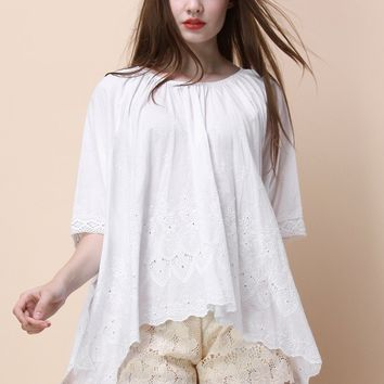 Folksy Focus Smock Top in White