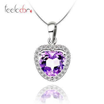Heart Natural Amethyst Pendant Solid 925 Sterling Silver 2015 Brand Design Floating Locket Pendant Pendulum For Necklace Starry
