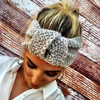 Knotted Headband Knitted Turband Mohair Ear Warmer in Soft Gray