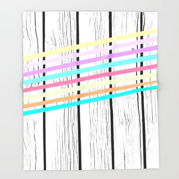 Rainbow stripes vs wood Throw Blanket by ARTbyJWP