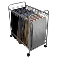Evelots Rolling Pant Trolley,18 Removable Pant Hangers, Trouser Organizer,Silver