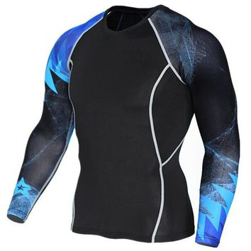 Blue Accent 3D Printed Compression Long Sleeve Shirt
