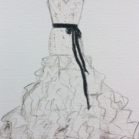 Wedding dress drawing, Chanel wedding dress, Custom siren Wedding dress, layered dress sketch, pencils, drawing, custom drawings