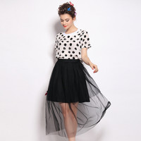 Black and White Polka Dot Dress with Tulle