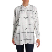 Two by Vince Camuto Womens Plaid Long Sleeves Button-Down Top