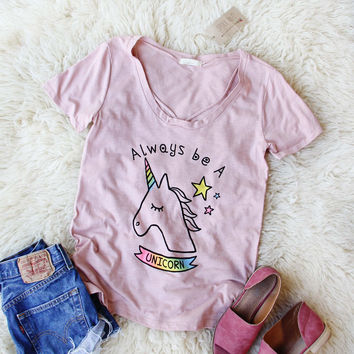 Always Be A Unicorn Tee in Pink