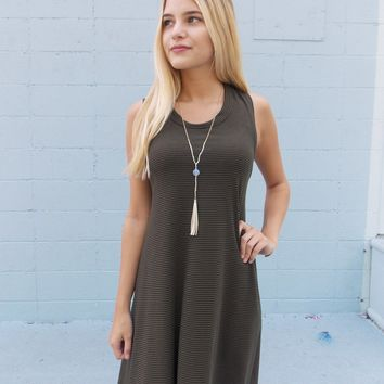 Now Or Never Army Stripe Dress