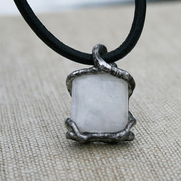 moonstone pendant, white pendant, moonstone necklace, men necklace gift for him christmas gift raw necklace ancient necklace, old silver tin