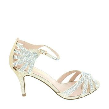 Crystal Mid Heel Party Sandal