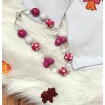 Hot Pink and Pearl Necklace