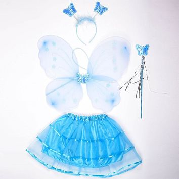 3pcs/Set Cute Butterfly Wing + Headband + Fairy Wand Set Party DIY Cosplay Costume Ballet Dance Clothing For Fairy Kids