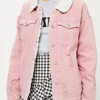 Missguided - Pink Borg Lined Denim Jacket