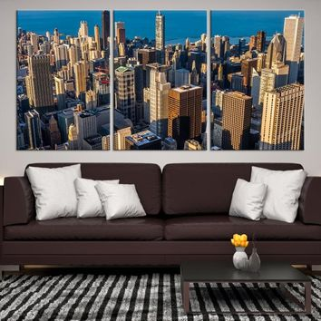 13307 - Chicago Wall Art Canvas Print - Extra Large Chicago City Night Canvas Print