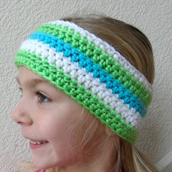 Girl's Earwarmer Headband Crochet Stripes