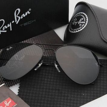 CREYGE2 Beauty Ticks Ray-ban Aviator Rb 3025 Sunglasses Black Frame Black Mirrored Lens