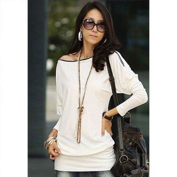 Charming Boat Neck Solid Color Zipper Embellished Long Sleeve Cotton Blend T-Shirt For Women - White - ONE SIZE