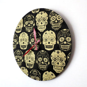 Unique Wall Clock, Sugar Skulls, Black and Gold Clock,  Home Decor, Home and Living,  Decor and Housewares, Wall Decor