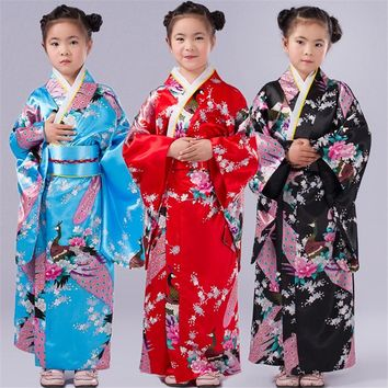2018 New Girls Dress Japanese Kimono Traditional Cosplay Yukata Printing Ethnic Dance Performance Costume Kids 6-12Years Kimonos