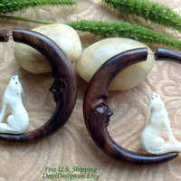 "Fake Gauge Earrings, ""Howling at the Moon"" Naturally Organic, Sono Wood/Bone, Hand Carved, Tribal"