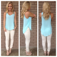 Sky Blue Sleeveless Dobby Blouse