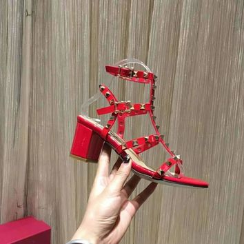 VALENTINO ROCKSTUD BLOCK HEEL CAGE SANDAL 65mm Red - Best Deal Online