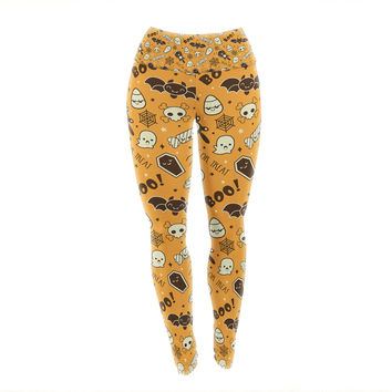 "KESS Original ""All Cute Halloween"" Orange Pattern Yoga Leggings"