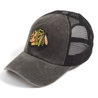 Men's American Needle 'Chicago Blackhawks - Raglan Bones' Trucker Cap - Black