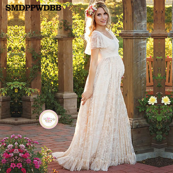 2017 Women White Maternity Photography Props Sexy Lace Cute Dress Elegant Fancy Pregnancy Photo Shoot Studio Clothing Lace Dress