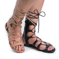 Ruby63 Open Toe Gladiator Lace Up Ankle Wrap Zipper Flat Sandals