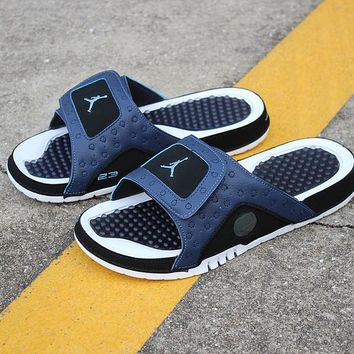 f82a86d6afdca Air Jordan Hydro 13 Retro Black White Sandals Slides Slippers -