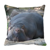 Lazy Hippo Throw Pillow