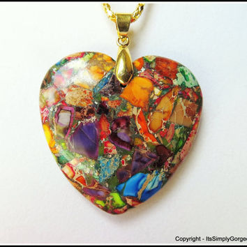 Lovely Heart-shaped Multi-Stone Patch Pendant Necklace - Orange, Blue, Purple, Red, Green & Tan - Gemstone Fashion Jewelry for Women