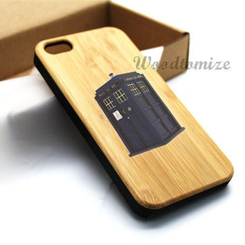iPhone 5C case, iPhone 5S 5 case, Wood cover, Tardis Doctor Who Police Box Case, Bamboo, Cherry wood, Sapele wood, FREE screen protector
