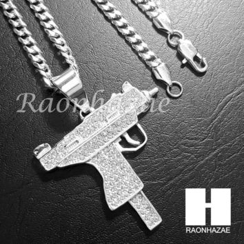 Iced Out 316L Stainless steel  Silver Uzi Gun Pendant w/ 5mm Cuban Chain SG31
