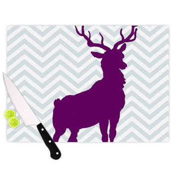 "Suzanne Carter ""Chevron Deer"" Purple  Cutting Board"