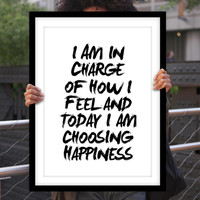 "Typography Poster Motivational Print ""I Am In Charge of How I Feel"" Home Decor Wall Decor Fall Trends Autumn Trends"