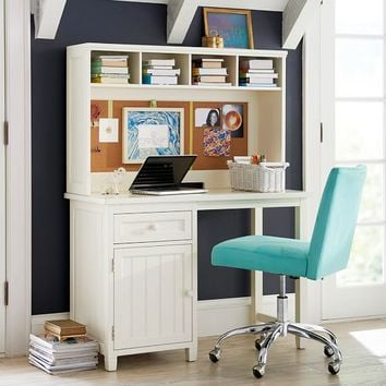 Beadboard Space-Saving Desk + Hutch
