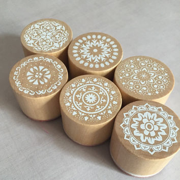 "Mandala Rubber Stamp Set of 6 - 1"" round circle floral tribal indian filigree flowers swirls"