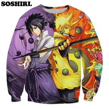 Naruto Sasauke ninja SOSHIRL  Sasuke Yin Yang Sweatshirt Japanese Anime Streetwear Cartoon Fans Clothes Unisex Pullovers US Size  AT_81_8