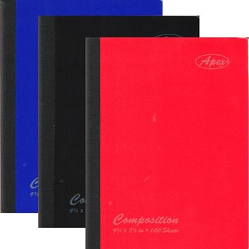 """100 Sheet Poly Cover Composition Notebook - 9.75"""" x 7.5"""" - CASE OF 48"""