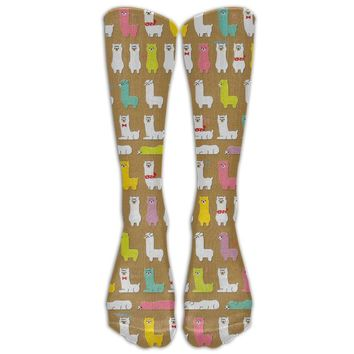 Llama Dog Novelty Cotton Knee High All-Over Printed Socks