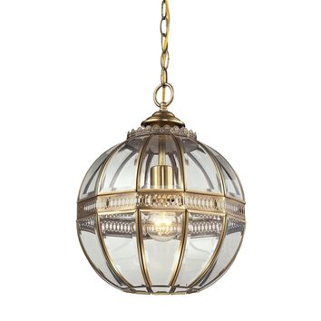 22020/1 Randolph 1 Light Pendant In Brushed Brass And Clear Glass - Free Shipping!