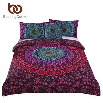 BeddingOutlet Bohemian Bedding Set Mandala Duvet Cover Set Posture Million Romantic Soft Bedclothes Plain Twill Boho 4 Pieces